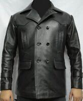 Mens Dr Who WW2 German Submarine Kriegsmarine Cowhide Black Leather Coat Jacket