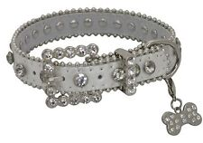 Showman Couture SMALL SILVER Leather Dog Collar with Crystal Rhinestones!