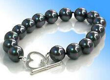 Fashion 10mm Black Shell Pearl 18KWGP Love Heart Clasp Women Bangle Bracelet