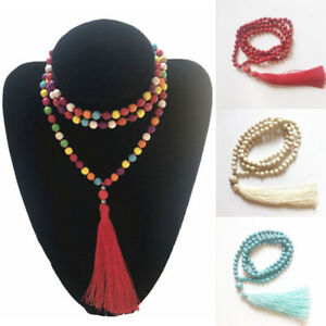 Turquoise Beads Tassel Pendant Necklace Long Sweater Chain Women Collar Jewelry
