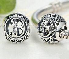 Hot Letters B European Silver CZ Charm Beads Fit sterling 925 Bracelet Chain