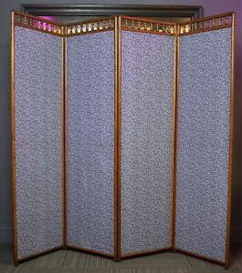 Antique Victorian Stick & Ball Oak 4 Section Dressing Room Divider Screen