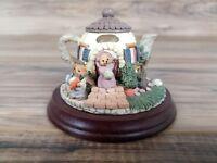 Vintage 1993 Ceramic Trinket Holder Bear House Teapot w/ Lid on Wooden Base