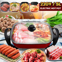 AU 5L Electric Stainless Steel Fry Pan Non-Stick Smokeless Cookware Skillet