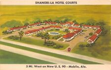 MOBILE SHANGRI-LA HOTEL COURTS~ON NEW U.S. 90~STANLEY ROSE AERIAL POSTCARD 1940s