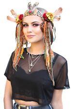 Brown Flower Child Rave Psytrance Dread Hippy Festival Fairy Headdress