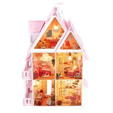 DIY-Holz Kinder Puppe Haus mit Möbeln & Treppe Puppenhaus Bausatz For Barbie
