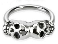 Twin Skull CBR Hoop Earring 16g (1.2mm) 12mm Septum Nipple Nose Piercing Jewelry