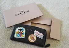 AUTH NEW RARE COACH  NEY DISNEY MINNIE MOUSE ACCORDIAN ZIP WOMENS WALLETS F31350