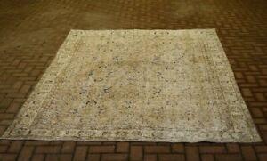 Vintage Distressed Beige Carpet Bohemian Ethnic Oushak Handmade Area Rug 7x10 ft