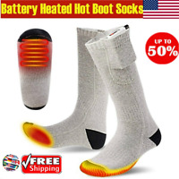 Rechargable Battery Electric Heated Socks Boot Feet Warmer Winter Outdoor HOT US