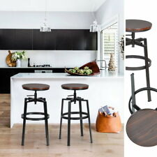 2PCS Vintage Bar Stool Industrial Design Wood Top Swivel Height Adjustable UP