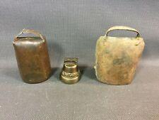 Lot de 3 cloches de collier de vaches vintage déco montagne Savoie chalet