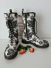 Dr doc martens 14 eye white black velvet boots 1b99 UK 8 EU 42 US 10
