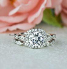 Silver Ring Engagement 3pec Ring Set Off White Real Moissanite 925 Starling
