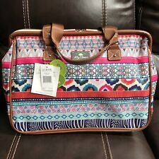 NWT Lily Bloom Zippered Travel Tote - Gorgeous Print On Cream Background