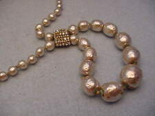 Haskell Pearl Necklace With Center  Rhinestone Vintage