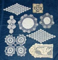 VINTAGE LOT 30 HAND CROCHETED DOILIES OFF WHITE ECRU VARIOUS SHAPES SIZES