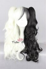 Lolita Black Mix White Long Fashion Party Cosplay Wig Heat Resistant 2Clips
