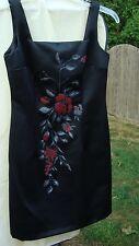 Women's BARASCHI Black DRESS size 3-4..w/Floral Design in the front