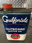 Vintage Early Rare Gulf Gulfpride Marine Outboard Quart Motor Oil Can