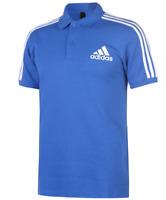 Adidas 3 Stripe Logo Blue Short Sleeve Polo Top Mens UK Size XL *REF133