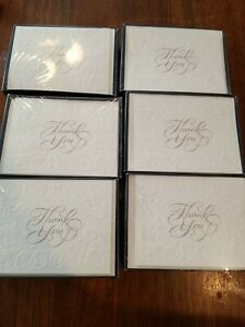 Lot Of 60 American Greetings Thank You Cards & Envelopes Floral Raised Ivory