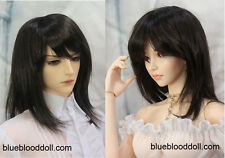 "1/3 bjd 9-10"" doll head natural black synthetic mohair wig Soom ID Pullip Feeple"