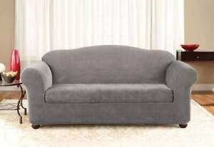 Sure Fit flannel grey Box cushion Stretch Pique Sofa 2 pc slipcover NEW washable