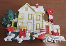 Homco 1975 Country Farm House Plastic Wall Hanging Windmill Wheelbarrow Mailbox