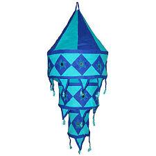 Pantalla lámpara India azul turquesa 75 cm algodón decorar oriental iluminación