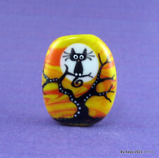 """""""THE BRANCH MANAGER"""" a handmade lampwork glass BLACK CAT focal bead byKayo SRA"""