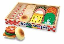 Melissa & Doug Sandwich Making Set Educational Wood Play Food Set New