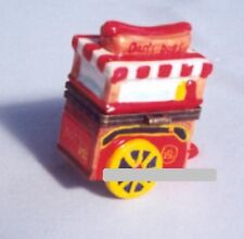 HOT DOG VENDOR'S CART-Porcelain Hinged-Box..MUSTARD, RELISH, ONIONS OR CHILI?