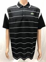 New Lacoste Men's Sports Short Sleeve Ultra Dry Polo with double color strip
