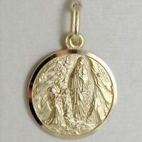 Pendentif Médaille or Jaune 750 18K Notre Dames Lourdes, Madone, Italie Fabriqué