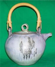 ORIENTAL STYLE ANAGAMA TEAPOT EARTHEN WARE VESSEL HAND CRAFTED FOLK ART POTTERY