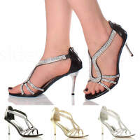 Womens ladies stiletto mid heel bridal sparkly evening prom party sandals size