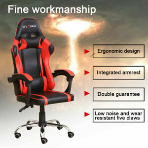 Gaming Chair Office Seating Racing Computer PU Leather Executive Racer Footrest