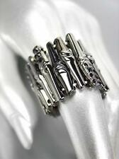 MODERN Chic DESIGNER STYLE Antique Bamboo Motif Metal Onyx Crystals Stretch Ring
