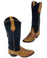 TONY LAMA Brown/Black Leather Cowboy Western Boots Womens Size 7.5 M Style 1170L
