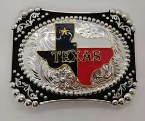TEXAS STATE BELT BUCKLE FLAG MAP RODEO COWBOY WESTERN NEW USA HEAVY COLOR