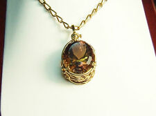 18 carat gold handmade ametrine pendant and neck chain