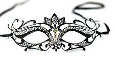 Black Metal Filigree Venetian Masquerade Mask Verona With Diamantes Luxury Prom