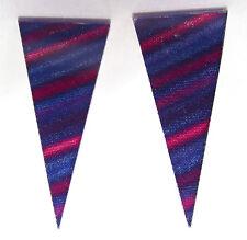 DZ New York Ohrstecker 1980er Jahre original Hologramm USA spitz stripes blau