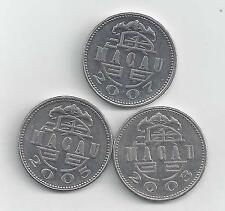 3 DIFFERENT 1 PATACA COINS from MACAU (2003, 2005 & 2007)