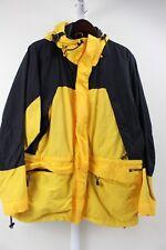 AE Performance 100% Nylon Yellow & Black Hooded Lined Ski Jacket Size - Large