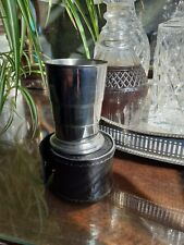 More details for folding pewter cup in lesther case
