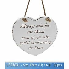 Shabby Chic Heart Plaque Moon Wall Art Family Friends Gift Novelty Hanging
