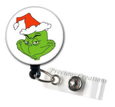 Grinch Christmas ID Badge Reel Holder Clip Retractable RT Tech Nurse Seuss